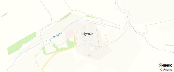 Карта села Щучье в Тульской области с улицами и номерами домов