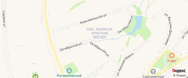 Октябрьская улица на карте Роговатого села с номерами домов