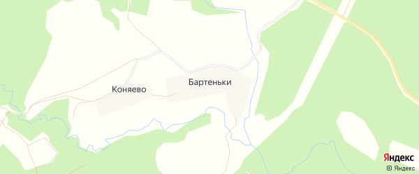 Карта деревни Бартеньки в Московской области с улицами и номерами домов