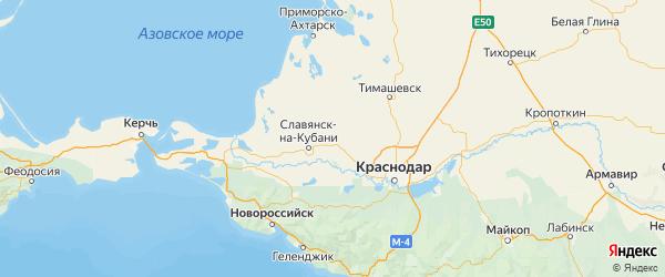 Карта Красноармейского района Краснодарского края с городами и населенными пунктами