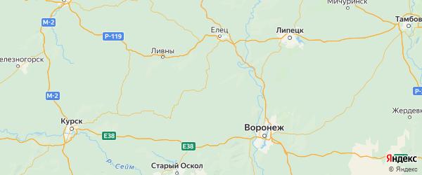 Карта Тербунского района Липецкой области с городами и населенными пунктами