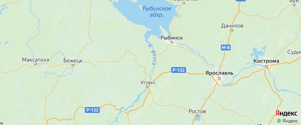 Карта Мышкинского района Ярославская области с городами и населенными пунктами