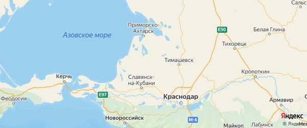 Карта Калининского района Краснодарского края с городами и населенными пунктами