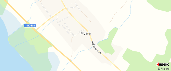 Карта деревни Музги в Вологодской области с улицами и номерами домов