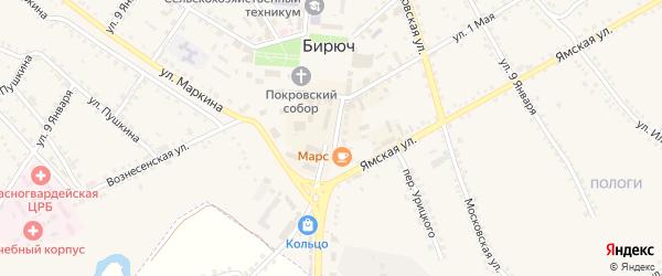 Успенская улица на карте Бирюча с номерами домов
