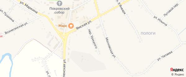 Переулок Урицкого на карте Бирюча с номерами домов