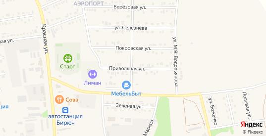 Привольная улица в Бирюче с номерами домов на карте. Спутник и схема онлайн