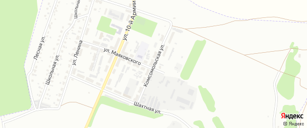 Комсомольская улица на карте микрорайона Руднева с номерами домов