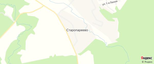 Карта деревни Старопареево в Московской области с улицами и номерами домов