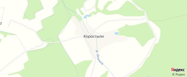 Карта деревни Коростыли города Коломны в Московской области с улицами и номерами домов