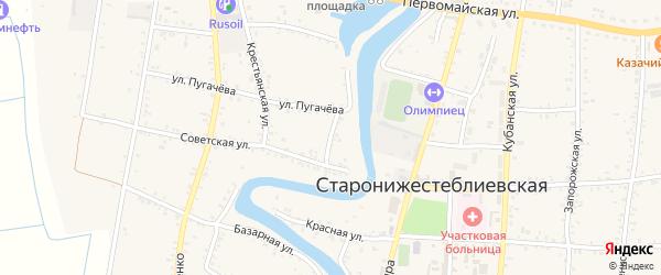 Переулок Пугачева на карте Старонижестеблиевской станицы Краснодарского края с номерами домов