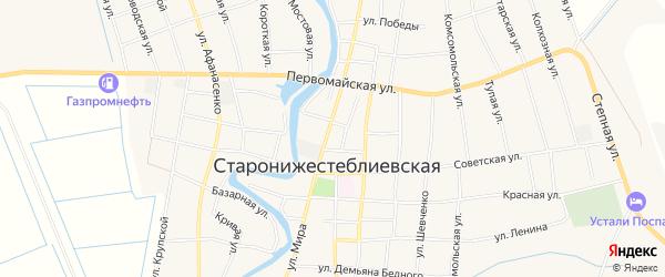 Карта Старонижестеблиевской станицы в Краснодарском крае с улицами и номерами домов