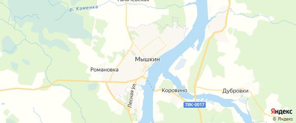 Карта Мышкина с районами, улицами и номерами домов