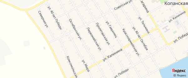 Первомайская улица на карте Копанской станицы Краснодарского края с номерами домов