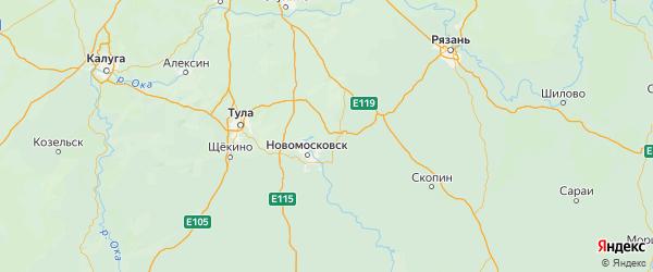 Карта Новомосковского района Тульской области с городами и населенными пунктами