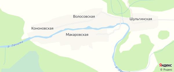 Карта Макаровской деревни в Архангельской области с улицами и номерами домов