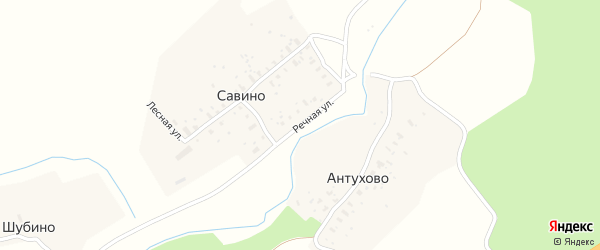 Речная улица на карте деревни Савино Ярославская области с номерами домов