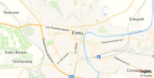 Карта Ельца с улицами и домами подробная. Показать со спутника номера домов онлайн