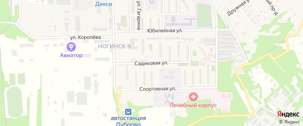 Садиковая улица на карте поселка Ногинска-9 Московской области с номерами домов