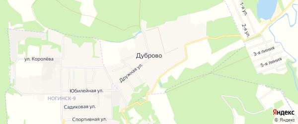 Карта деревни Дуброво в Московской области с улицами и номерами домов