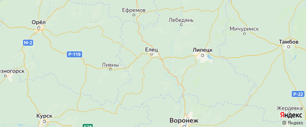 Карта Елецкого района Липецкой области с городами и населенными пунктами