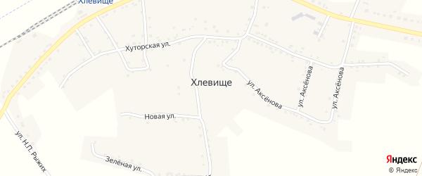 Зеленая улица на карте села Хлевища с номерами домов