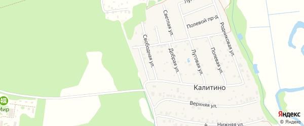 Свободная улица на карте деревни Калитино Московской области с номерами домов