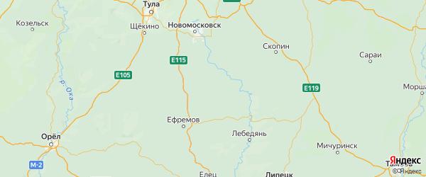 Карта Куркинского района Тульской области с городами и населенными пунктами