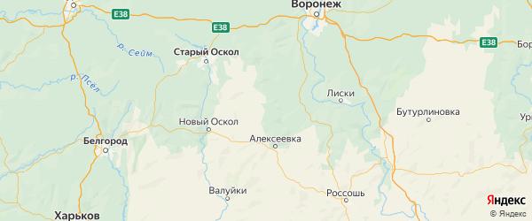 Карта Красненского района Белгородской области с городами и населенными пунктами