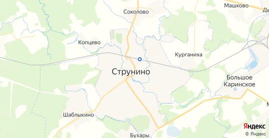 Карта Струнино с улицами и домами подробная. Показать со спутника номера домов онлайн