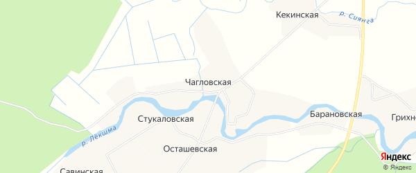Карта Чагловской деревни в Архангельской области с улицами и номерами домов
