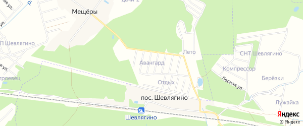 Садовое товарищество Авангард на карте Раменского с номерами домов