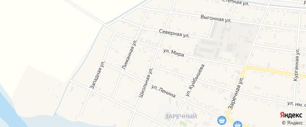 Школьная улица на карте Калининской станицы Краснодарского края с номерами домов