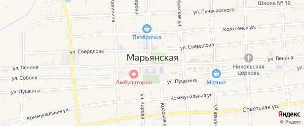Юбилейная улица на карте Марьянской станицы Краснодарского края с номерами домов
