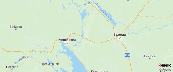 Карта Шекснинский района Вологодской области с городами и населенными пунктами