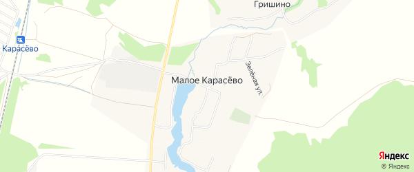 Карта деревни Малого Карасево города Коломны в Московской области с улицами и номерами домов