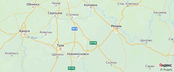Карта городского округа Серебряные Прудов Московской области с городами и населенными пунктами