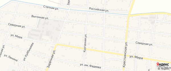 Курганная улица на карте Калининской станицы Краснодарского края с номерами домов