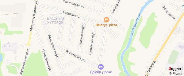 Цветочный переулок на карте Алексеевки с номерами домов