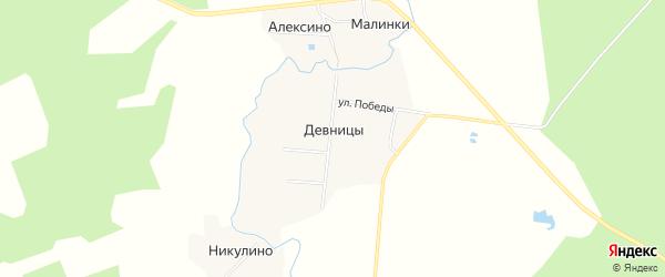 Карта деревни Девницы в Ярославская области с улицами и номерами домов