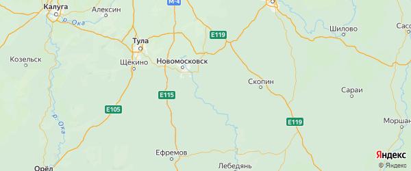 Карта Кимовского района Тульской области с городами и населенными пунктами