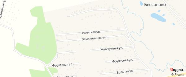 Земляничная улица на карте деревни Бессоново Московской области с номерами домов