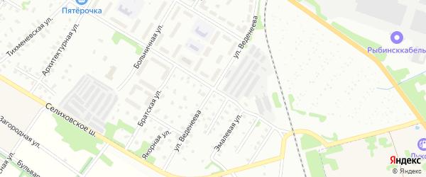 Улица Веденеева на карте Рыбинска с номерами домов
