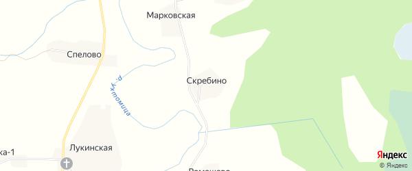 Карта деревни Скребино в Вологодской области с улицами и номерами домов