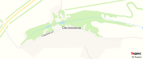 Садовая улица на карте хутора Овсянникова Воронежской области с номерами домов