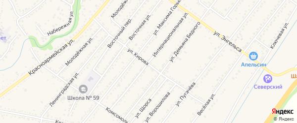Интернациональная улица на карте Северской станицы Краснодарского края с номерами домов