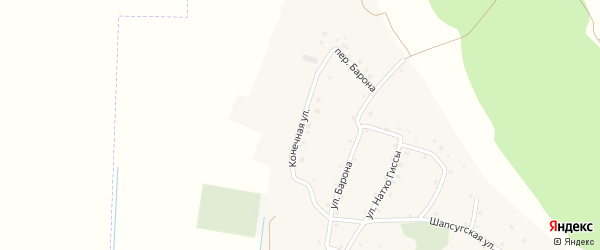 Конечная улица на карте аула Псейтука Адыгеи с номерами домов