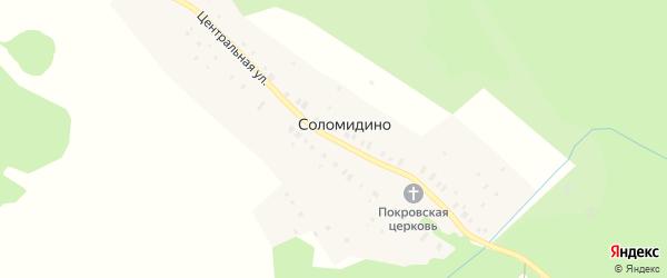 Центральная улица на карте села Соломидино Ярославская области с номерами домов