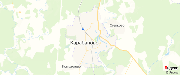 Карта Карабаново с районами, улицами и номерами домов: Карабаново на карте России