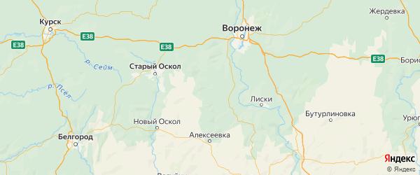 Карта Репьевского района Воронежской области с городами и населенными пунктами